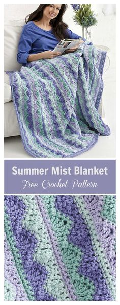 Knitting and Crochet Patterns - Summer Mist Blanket Free Crochet PatternSummer Mist Blanket Free Crochet Pattern I'm not crazy about the colors, but the pattern is very pretty.Crocheting is such a wonderfulNo matter the season, keep a ray of warmth w Crochet Afghans, Crochet Motifs, Baby Blanket Crochet, Crochet Stitches, Crochet Baby, Crochet Blankets, Crochet Summer, Baby Blankets, Baby Afghans