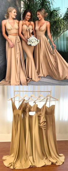 brides maid dresses two piece 2019 A-line Elegant Sexy V Neck Gold Long Modest Bridesmaid Dresses with Side Slit, Popular Wedding Party Dresses Champagne Bridesmaid Dresses, Modest Bridesmaid Dresses, Modest Dresses, Simple Dresses, Prom Dresses, Formal Dresses, Bridesmaid Outfit, Long Dresses, Dress Long