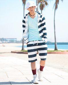 元気いっぱいタイプのサーフ系のコーデ。海の男のスタイル・ファッションのアイデア。