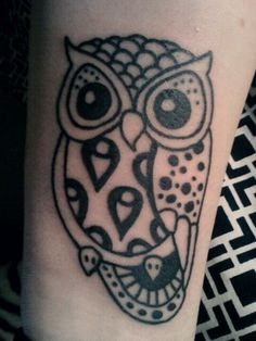 Owl tattoo on wrist/arm   Tattoos   Pinterest