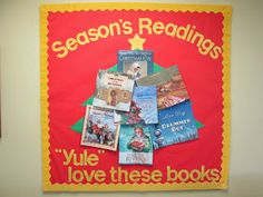 "Lorri's School Library Blog: Christmas School Library Bulletin Boards-Christmas book tree ""Season's Readings: ""Yule"" love these books."