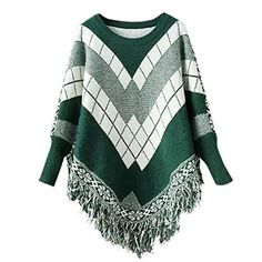 New Trending Outerwear: Queenmore Women´s Poncho Sweater with Sleeves Batwing Cape Shawls Cloak Tassel (Dark Green). Queenmore Women´s Poncho Sweater with Sleeves Batwing Cape Shawls Cloak Tassel (Dark Green)  Special Offer: $21.99  100 Reviews Long Sleeve Poncho Sweater could keep you warm in winter. Fringe Design,Batwing Design with Fringes make it more fashion when you wear with leggings, skirt or...