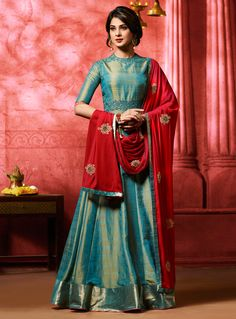 Buy Jennifer Winget Teal Banarasi Silk Floor Length Anarkali Suit 105131 online at lowest price from vast collection at m.indianclothstore.c.