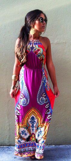 Multi color sleeveless summer maxi dress