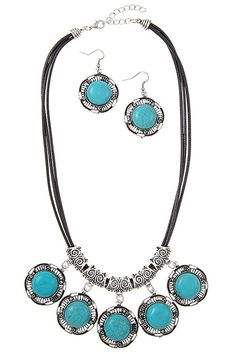Vintage Framed Cord Necklace Set