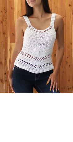 """Five stars rated patterns in English and """"Français"""" by TheEasyDesign Débardeurs Au Crochet, Crochet Tunic Pattern, Pull Crochet, Crochet Patron, Crochet Woman, Crochet Blouse, Easy Crochet Patterns, Top Pattern, Knitting Patterns"""