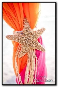 Florida Beach Wedding Tropical Decor Picture thiat with turquoise, they have the starfish all over here and at Destin, Cheap!  With raffia or rope!