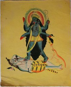Kalighat collection: Kali tramples Shiva. Watercolour on paper. Circa 3rd quarter 19th century. 25.5 x 21.6cm