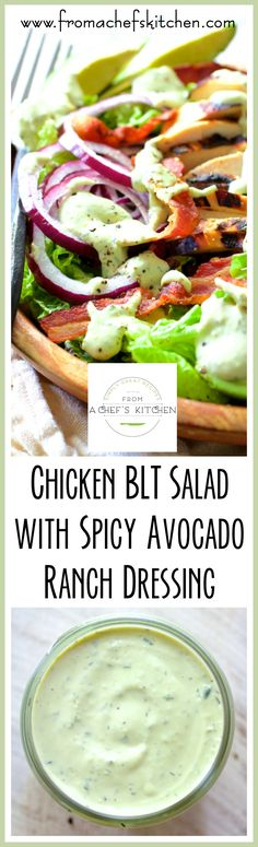 Chicken BLT Salad with Spicy Avocado Ranch Dressing is fresh, cool, crunchy and the perfect way to use up grilled chicken! Chicken BLT Salad with Spicy Avocado Ranch Dressing is fresh, cool, crunchy and the perfect way to use up grilled chicken! Avocado Ranch Dressing, Ranch Dressing Chicken, Vinaigrette Dressing, Chicken Blt, Chicken Salad Recipes, Grilled Chicken, Avocado Chicken, Chicken Meals, Blt Salad