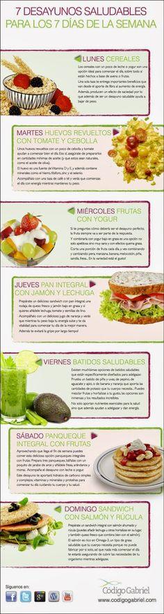 Aquí les dejo una infografía con 7 desayunos para cada día de la semana y bajar de peso. Fuente: Código Gabriel
