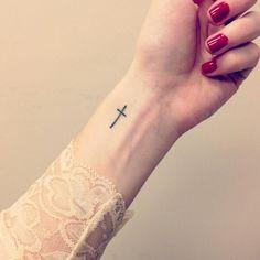 Small tattoos, small cross tattoos, cross tattoos for women, trendy tattoos Cross Tattoo On Wrist, Small Cross Tattoos, Cross Tattoos For Women, Cute Tattoos On Wrist, Trendy Tattoos, Finger Tattoos, Back Tattoo, Small Tattoos, Cool Tattoos