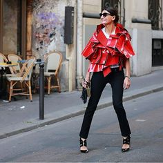Sara Battaglia spotted wearing the Jimmy Choo DELISE buckle pumps at #PFW {Regram: @jaylim1}