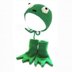 Handmade Knitted Frog Hat and Booties Set by The Miniature Knit Shop