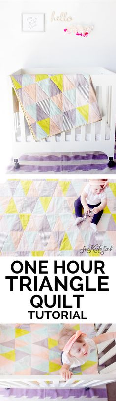 Sewing a quilt doesn't have to take several weeks! In fact, you can finish a quilt in less than a day! One Hour Triangle Quilt from See Kate Sew Sewing Projects For Beginners, Sewing Tutorials, Sewing Crafts, Tutorial Sewing, Sewing Tips, Sewing Ideas, Sewing Hacks, Sewing Patterns Free, Free Sewing