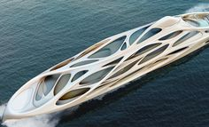Designed by Zaha Hadid Architects. Zaha Hadid has collaborated with the Hamburg-based shipbuilders Blohm+Voss to design a new concept for a family of superyachts: a master. Zaha Hadid Design, Arquitectos Zaha Hadid, Zaha Hadid Architects, Yacht Design, Boat Design, Super Yachts, Zaha Hadid Obras, Most Expensive Yacht, Colani