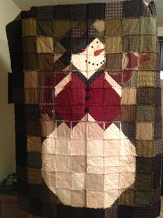 Frosty the Snowman Rag Quilt Pattern by Karla by FlannelLand ... : snowman rag quilt pattern - Adamdwight.com