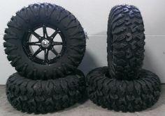 "Bundle - 9 Items: MSA Black Diesel 14"" ATV Wheels 30"" EFX MotoClaw Tires [4x137 Bolt Pattern 10mmx1.25 Lug Kit]"