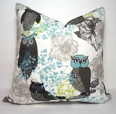 Hooty Owl Bird Print Pillow Cover Peepers Macon by HomeLiving