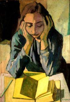 Completecollective:  By Felice Casorati - Girl reading #ItalianArt http://en.wikipedia.org/wiki/Felice_Casorati