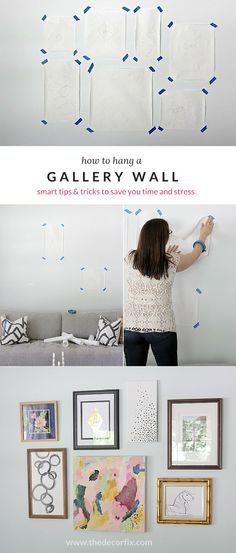 How to Hang a Gallery Wall (lots of time-saving tips...#3 is a MUST!) #gallerywall