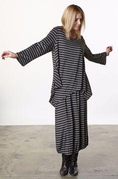 Bryn Walker Viscose Jersey Deca Shirt Tunic Top XS s M L XL Black Grey Stripe | eBay