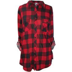 Women's Long Sleeves Plaid Checkered Shirts ($20) ❤ liked on Polyvore featuring tops, long-sleeve shirt, plaid shirts, red plaid shirt, red long sleeve top and plaid top