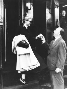Alfred Hitchcock greets Grace Kelly, C.1950's