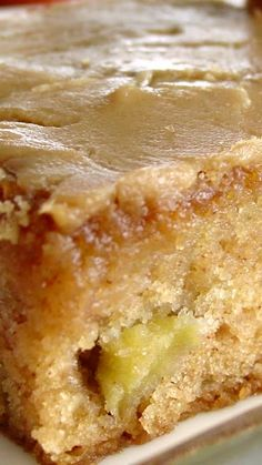 Fresh Apple Cake w/ Brown Sugar Glaze Recipe ~ Caramelly. Fun Desserts, Dessert Recipes, Apple Desserts, Fudge, Fresh Apple Cake, Apple Cake Recipes, Glaze Recipe, Sugar Glaze, Sweet Bread
