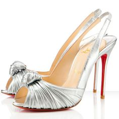 Christian Louboutin 100% Price Guarantee Comfortable Fr Sale Casual Jenny 100mm Slingbacks Silver Red Sole Shoes