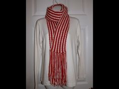 Loom Knit figure 8 vertical stripe scarf on long loom Beginning to End - YouTube