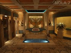 Planning and consulting, concept and design, implementation and maintenance of Egyptian baths. Spa & Wellness planning and development Desert Temple, Egyptian Home Decor, Ancient Egyptian Architecture, Royal Bathroom, Egyptian Temple, Empire Romain, Spa Rooms, Ancient Beauty, Futuristic Architecture