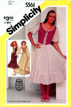 Vintage Sewing Pattern - 1981 Misses Fitted Dress in Two Lengths, Simplicity 5361 Size 14 Bust 36