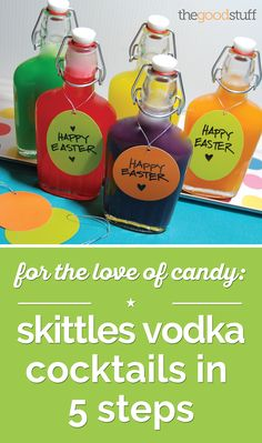 Use Skittles to make these colorful cocktails for Easter brunch!