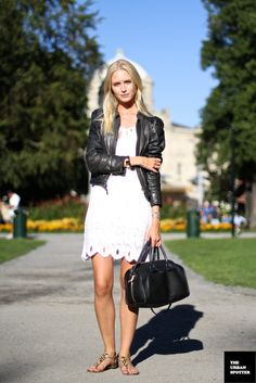 Black + white outfit. Recycle your summer dress with a leather jacket