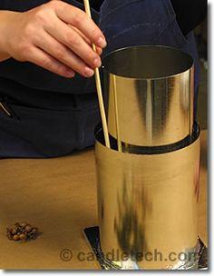This tutorial shows how to make hurricane shells, or luminaries, with botanical embeds. Shell Candles, Diy Candles, Pillar Candles, Candle Art, Candlemaking, Mason Jar Diy, Handmade Home Decor, Shells, Candle Holders