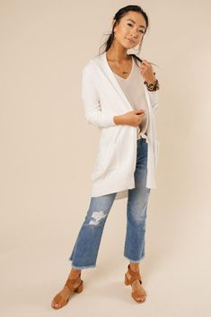 4d69ca72bcd Open Sesame Knit Pocket Cardigan in White. Bohme
