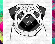 Pug SVG - pug svg files - pug svgs - pug decals - dog svgs - dog svg files - dog clipart - pug cut files - pug car decal - cricut - cameo