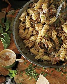 Fusilli with Bacon, Onions, and Mushrooms (add white wine cream sauce)