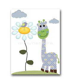 Giraffe Nursery Decor Playroom Print Baby Boy by artbynataera