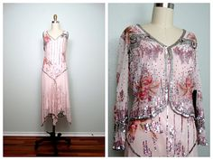 pink beaded silk dress and over-jacket 20s style