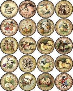 Vintage-Easter-pictures-on-round-asst-size-bottle-caps-63-1-30-1-5-20-2-2