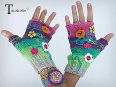 """Mittens knitted by hand in """"Libellule au jardin"""": Mittens, gloves by t . Crochet Gloves Pattern, Crochet Mittens, Knitted Gloves, Knit Crochet, Crochet Wrist Warmers, Hand Warmers, Crochet Coffee Cozy, Fingerless Mitts, Knitting Accessories"""