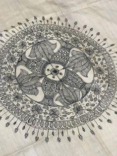 Items similar to Madhubani handcrafted art on Etsy Madhubani Art, Madhubani Painting, Kalamkari Painting, Saree Painting, Fabric Painting, Traditional Paintings, Traditional Art, Indian Folk Art, Ancient Indian Art
