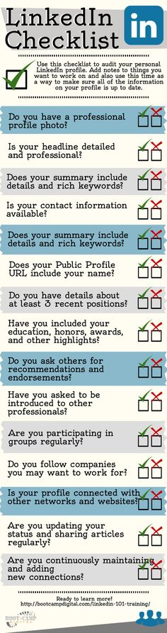 LinkedIn101.com: LinkedIn Checklist [Infographic] - How to Create a Strong LinkedIn Profile -- Check for more LinkedIn tips: http://linkedin101.wordpress.com/.
