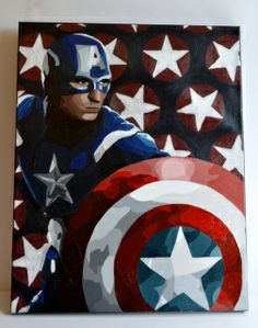 """Hand painted with acrylic paint on canvas. Featuring Marvel's Captain America in a bright graphic style. Perfect for the Marvel enthusiast.   This painting is one of a kind, and original. Painted by Ellen Nicole Allen.  16x20"""" in size. On stretched canvas, ready for display. **Only 1 item. Avaiable until sold out. If you purchase more than one, you will be refunded for the extra and only one will ship. Item ships within 1 week of receipt of payment.**"""
