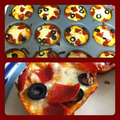 Muffin Tin Pizzas - easiest meal! Store bought dough, separated into twelve parts. Spray muffin tin, spread dough into circle shapes and place them in tin. A little less than 1 Tbs. pizza sauce, cheese and toppings as desired. Bake for 12-15 minutes at 400. Yum!