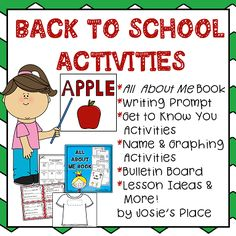 Great back to school activities, All About Me book, games, writing prompt, and instant bulletin board!