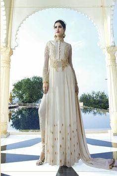 Pearl White Georgette Anarkali Suit