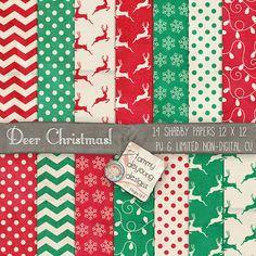 Christmas Digital Papers Shabby Retro Vintage by songinmyheart, $4.50  Reindeer, chevron, snowflakes