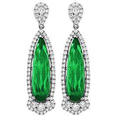 1.05 CT DIAMOND 6.81 CT GREEN TOURMALINE  EARRINGS Spark Creations - E 20892-GT